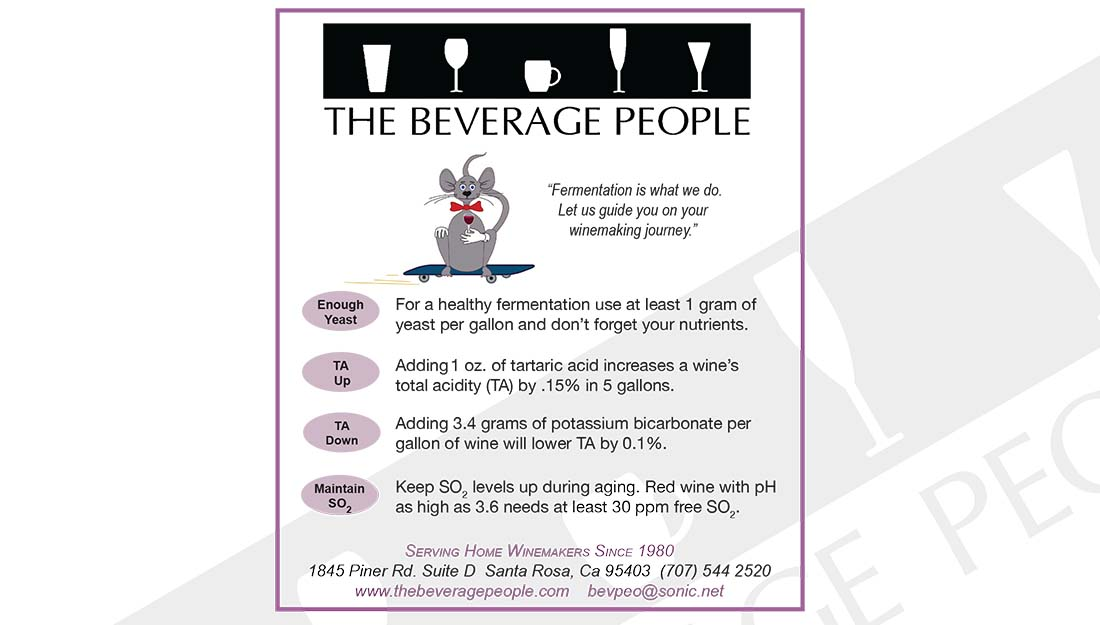 Beverage People recommendations for yeast and acid levels
