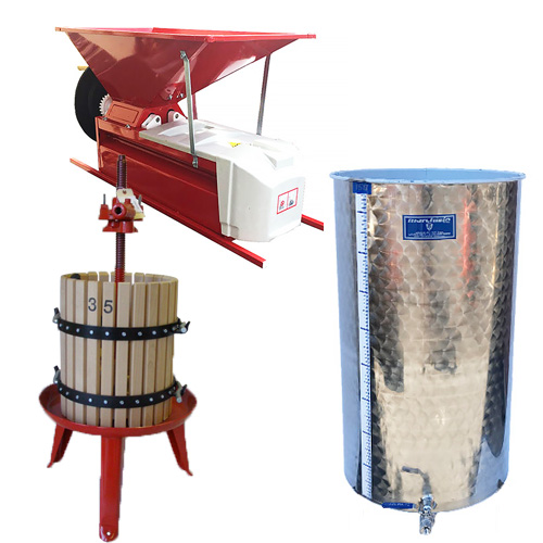 Complete Home Winery - Crusher Destemmer - Wine Press - Storage Tank