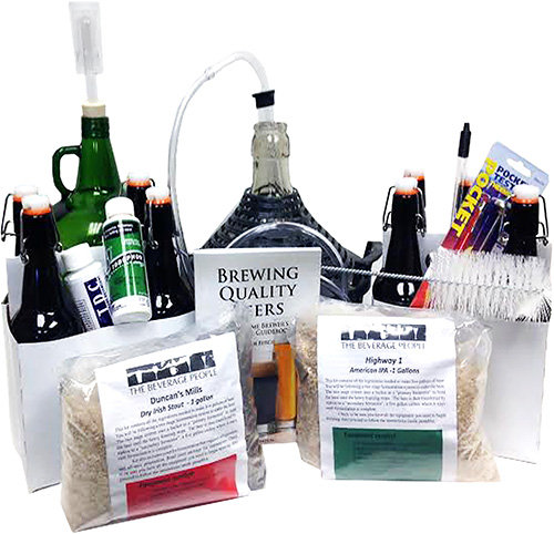 smALL Grain One Gallon Beer Brewing Equipment Kit with IPA and Stout Ingredient Kits