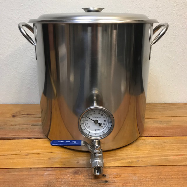Stainless Kettle - 32 qt - 8 gallon - with valve and thermometer