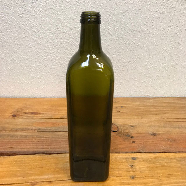 1 Liter Marasca Bottle, Antique Green, Screw Top WITHOUT CAP - Singles or Pack of 20