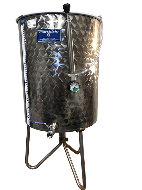 Marchisio Variable Capacity Stainless Wine Tank - WIDE BODY - 26 gallons - 100 liters - 1/2 in. Port and Valve - TankToppr™ Airlock Riser