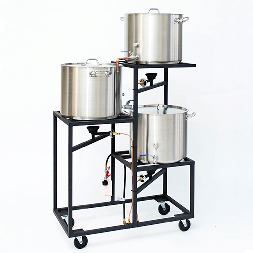 Professional Three Tier All Grain Brewery Rack (10 gal or 5 gal) with Plumbing and Burners