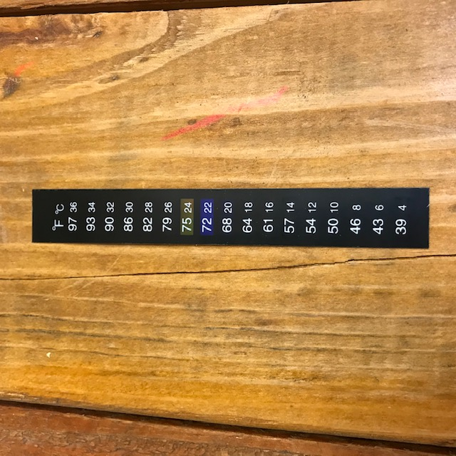 Liquid Crystal Thermometer Sticker - deg. F/C - attach to any fermentor