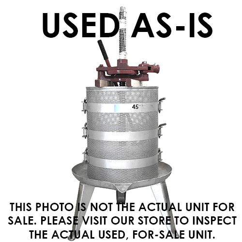 USED - AS IS - #45 Ratchet Wine Presss - 25 Gallon - Stainless base/cage
