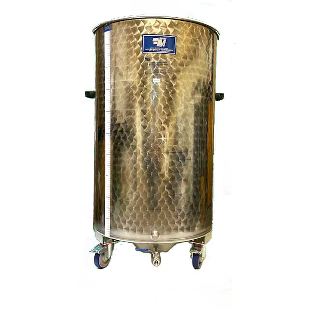 PRE-ORDER FOR JULY 2022 ARRIVAL - Marchisio Variable Capacity Stainless Dish Bottom Tank on Wheels - 53 gallon - 200 L - Two 1/2