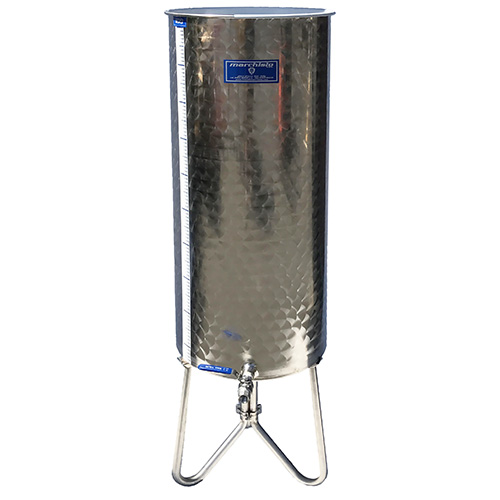 Marchisio Variable Capacity Stainless Wine Tank - TALL BODY - 26 gallons - 100 liters - 1/2 in. Port and Valve - TankToppr™ Airlock Riser