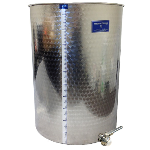 Marchisio Variable Capacity Stainless Wine Tank -132 gallons - 500 liters -  Tri Clamp Butterfly Valve - TankToppr™ Airlock Riser