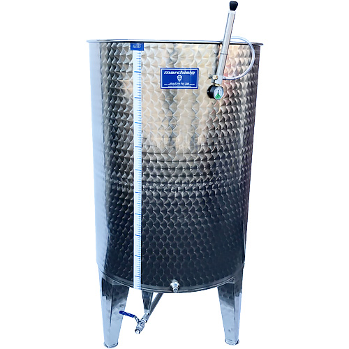 Marchisio Variable Capacity Stainless Wine Tank with Cone Bottom and Legs - 132 gal - 500 L - Two 1/2