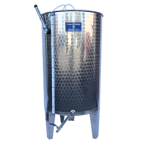 Marchisio Variable Capacity Stainless Wine Tank with Cone Bottom and Legs - 79 gallons - 300 L - Two - 1/2