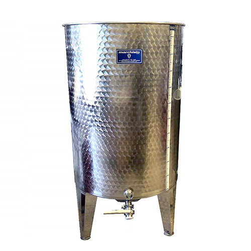 Marchisio Variable Capacity Stainless Dish Bottom Wine Tank - 79 gallons - 300 L - Tri Clamp Ports and Valve - TankToppr™ Airlock Riser