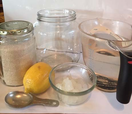 equipment and ingredients for making water kefir grains recipe