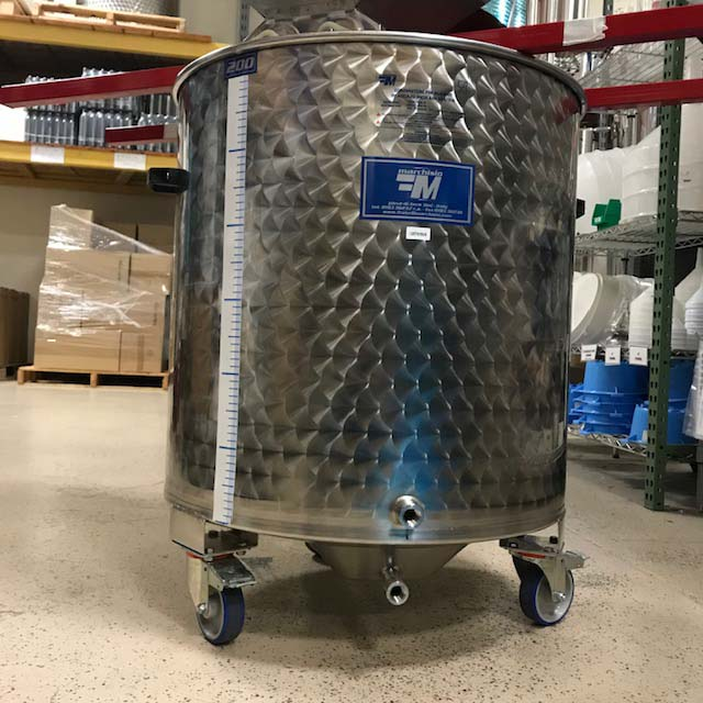 Marchisio Variable Capacity Stainless Dish Bottom Wine Tank on Wheels - 53 gallon - 200 L - Two 1/2