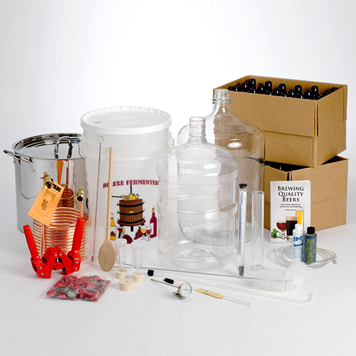 Super Brewer Beer Brewing Equipment Kit for 5 Gallons with 32 qt. Stainless Kettle