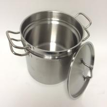 Double Boiler - 12 quart outer kettle, 10 quart inner - Stainless steel, induction ready, with cover