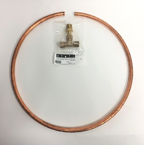MASH STRAINER, copper ring with T and hose stem